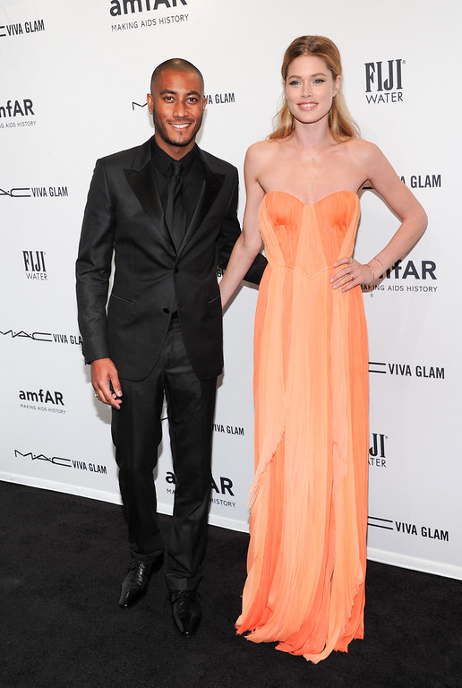 . Model Doutzen Kroes, right, and husband Sunnery James attend amfAR\'s New York gala at Cipriani Wall Street on Wednesday, Feb. 6, 2013 in New York. (Photo by Evan Agostini/Invision/AP)
