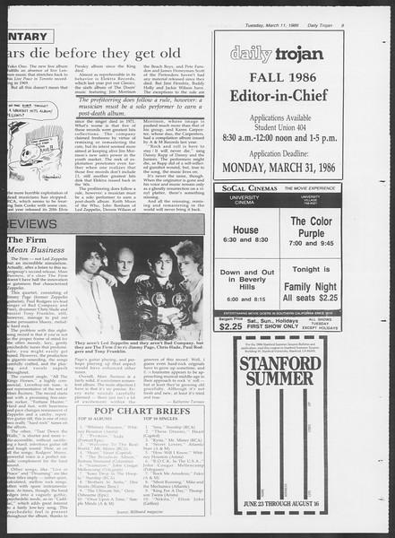 Daily Trojan, Vol. 100, No. 41, March 11, 1986