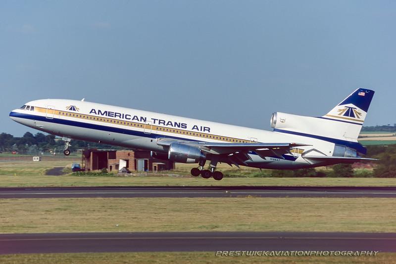 N195AT. Lockheed L-1011-385-1-14 TriStar 150. American Trans Air. Prestwick. July. 1995.