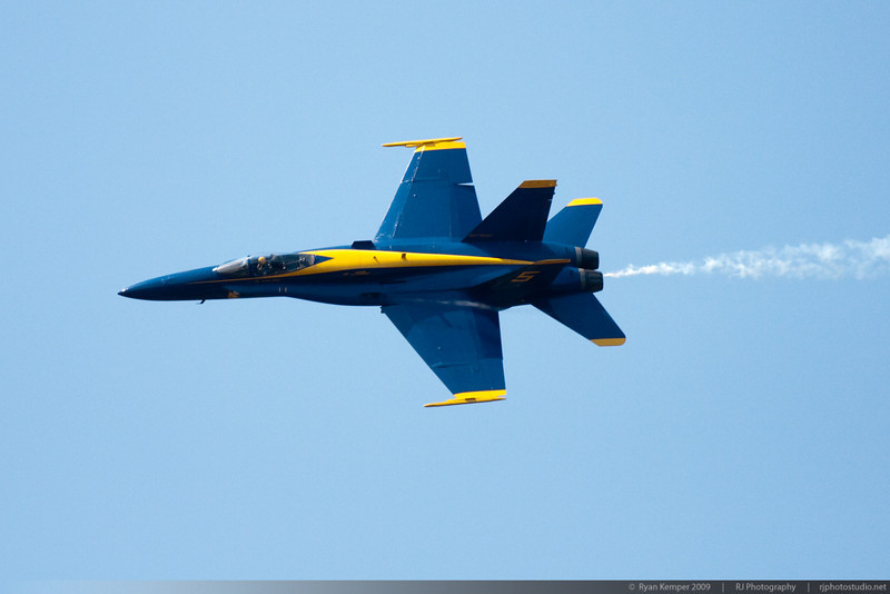 Lead solo pilot Major Nathan Miller manuvers behind show center at the Key Bank Airshow Sunday Afternoon.