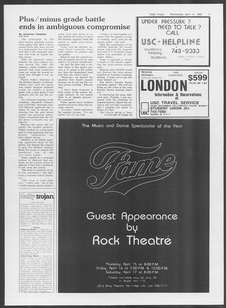 Daily Trojan, Vol. 91, No. 58, April 14, 1982