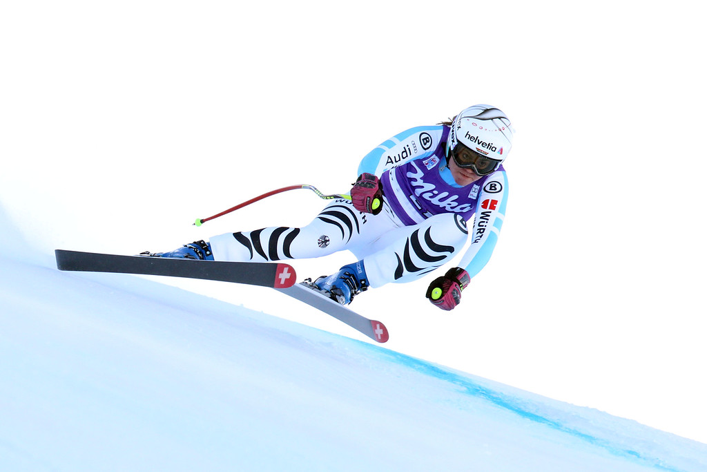 . Viktoria Rebensburg of Germany takes 2st place during the Audi FIS Alpine Ski World Cup Women\'s Downhill on December 20, 2014 in Val dâIsere, France. (Photo by Christophe Pallot/Agence Zoom/Getty Images)