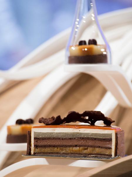 """Le dessert """" Pomme, poire et chocolat""""  de L'équipe France, qui à remporté le Trophée Argent"""