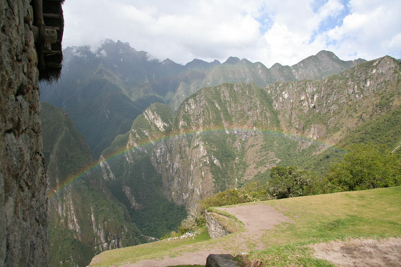 Rainbow (double?) over the valley below Machu Picchu