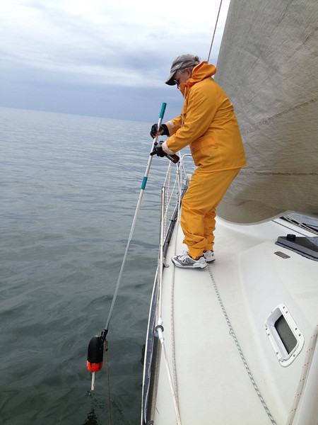 4/28 Spring Series #3  drifting backward in no wind and having to use the boat hook to 'move' a crab pot around us since we had no steerage.