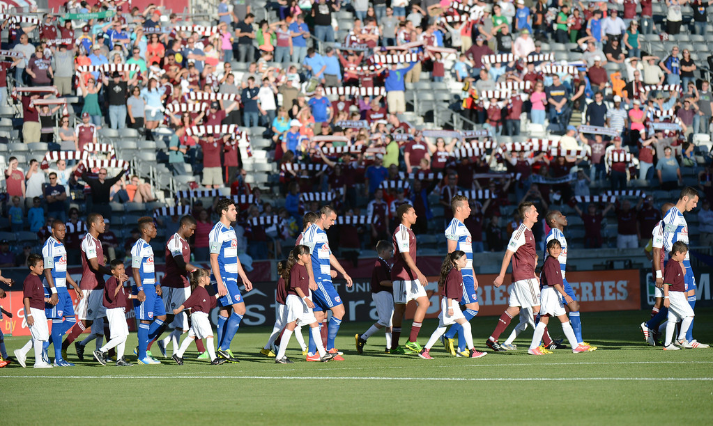 . COMMERCE CITY, CO. - June 01: Colorado Rapids  and  FC Dallas players walk in the field for the game at Dick\'s Sporting Goods Park. Commerce City, Colorado. June 1, 2013. (Photo By Hyoung Chang/The Denver Post)
