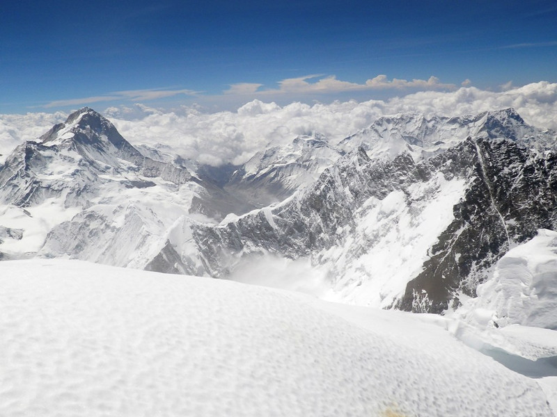 View towards south-east - from the left: Makalu (27,825ft = 8.481m) fifth and Lhotse (27,940ft = 8.516m) fourth highest world mountain.