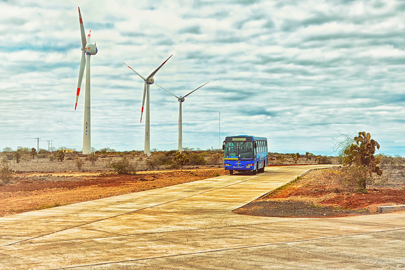 Out front and to the right of Baltra airport are three wind turbines. This blue bus is the type used to transport people to and from Itabaca Channel .