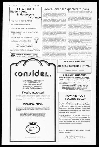 Daily Trojan, Vol. 67, No. 37, November 06, 1974