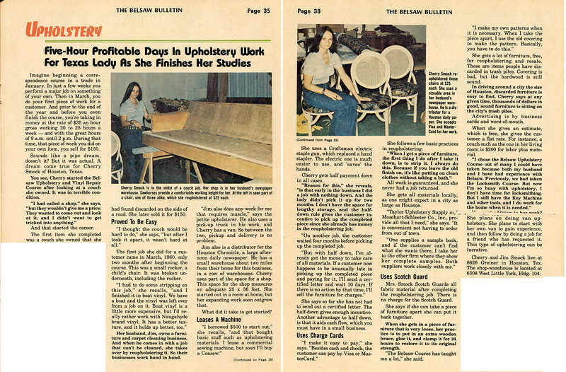 1980's Cherry Upholstery article in Belsaw Bulletin