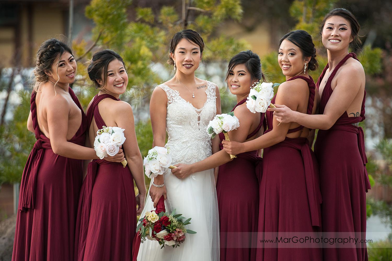 bride and bridesmaids with wedding bouquets at Sunol's Casa Bella