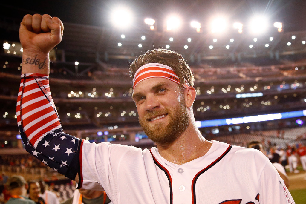 . Washington Nationals Bryce Harper celebrates his winning hit after the Major League Baseball Home Run Derby, Monday, July 16, 2018 in Washington.(AP Photo/Patrick Semansky)