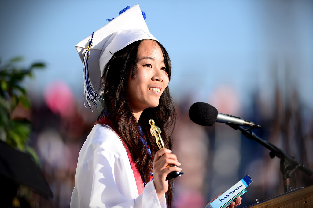 . Yun-Ju Chen gives the valedictory address during Duarte High School\'s commencement ceremony Thursday night,  June 12, 2014 at the Duarte school. (Photo by Sarah Reingewirtz/Pasadena Star-News)
