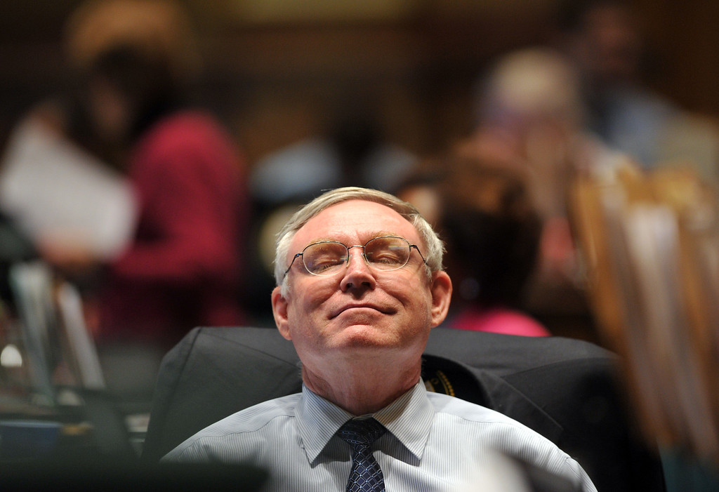 . DENVER, CO. - FEBRUARY 15:Bob Gardner, R-Colorado Springs, reacted after passing gun control bills at House of Representatives chambers in Colorado State Building February 15, 2013. Denver, Colorado. Members of the Colorado House debate four gun-control bills in the House chamber. (Photo By Hyoung Chang/The Denver Post)