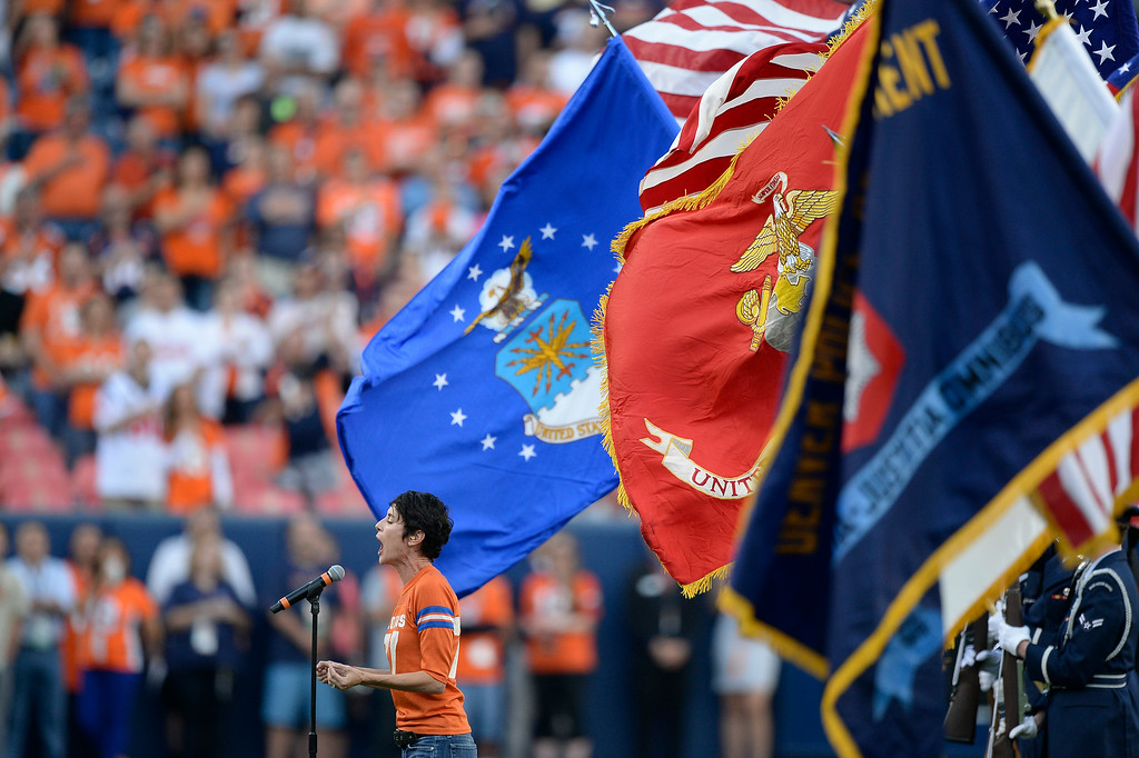 . DENVER, CO - AUGUST 23: National Anthem sung by  Beth Malone during the Denver Broncos Houston Texans game August 23, 2014 at Sports Authority Field at Mile High Stadium. (Photo by John Leyba/The Denver Post)