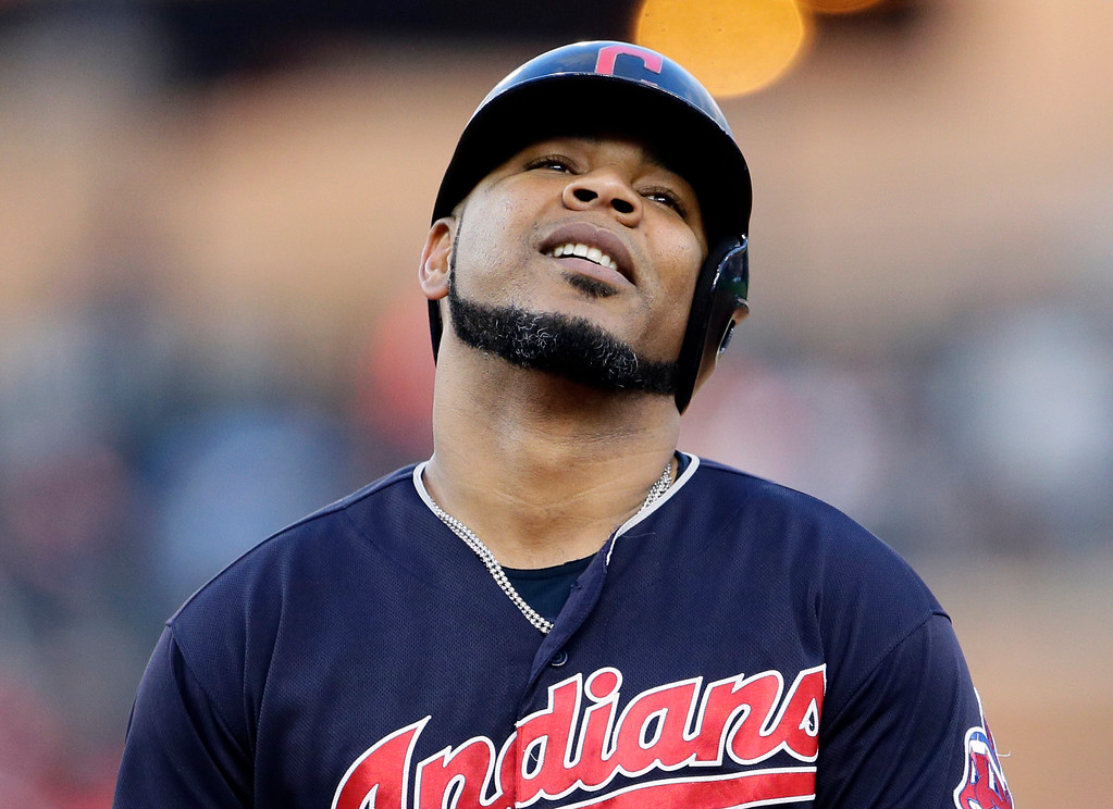 . Cleveland Indians\' Edwin Encarnacion reacts after flying out to deep center field during the eighth inning of the team\'s baseball game against the Detroit Tigers on Saturday, July 28, 2018, in Detroit. (AP Photo/Duane Burleson)