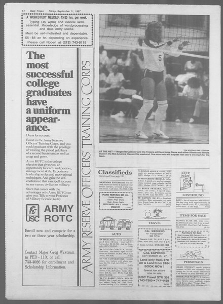 Daily Trojan, Vol. 105, No. 7, September 11, 1987