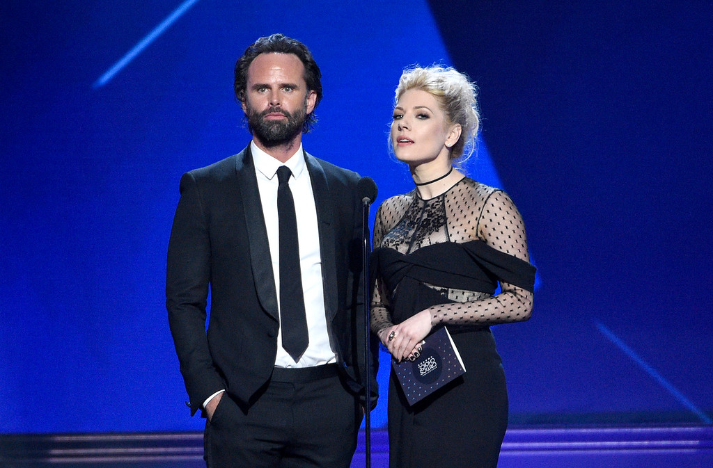 . Walton Goggins, left, and Katheryn Winnick present the award for best supporting actor in a drama series at the 22nd annual Critics\' Choice Awards at the Barker Hangar on Sunday, Dec. 11, 2016, in Santa Monica, Calif. (Photo by Chris Pizzello/Invision/AP)