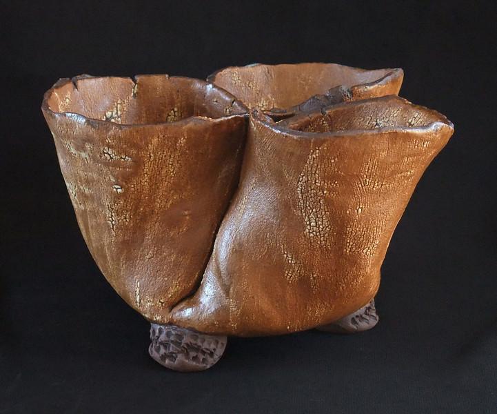 """#534 3 pocket pot - pockets are 3"""" - 4"""" diameter, 4 1/2"""" deep, 5 1/2"""" tall"""