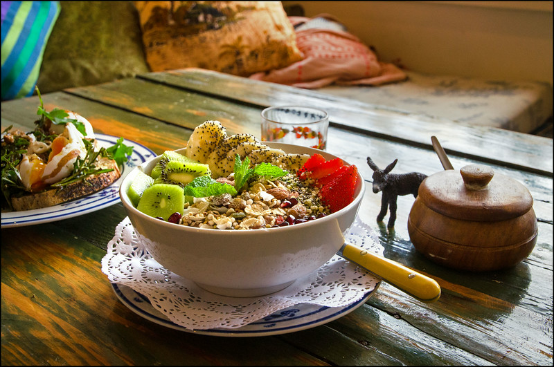 'Acai Soul Bowl' - Blended acai, banana, apple with homemade toasted buckwheat and nut granola, fresh seasonal fruit, chia and hemp seeds - $13.00 (gf)