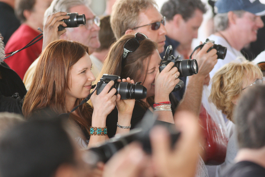 . Fans take photos of International Boxing Hall of Fame Class of 2014 inductees as they have their  fist cast at the hall of fame on Friday, June 6, 2014 in Canastota. JOHN HAEGER-ONEIDA DAILY DISPATCH @ONEIDAPHOTO ON TWITTER