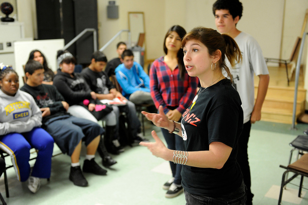 . Poly High School drama teacher Katy Groskin instructs her drama students to do an improvisation skit, Wednesday, March 20, 2013. Poly High School will become a pilot school in the Fall when it becomes a pilot school. Pilot schools have greater autonomy over scheduling, curriculum and budgets. (Michael Owen Baker/Staff Photographer)