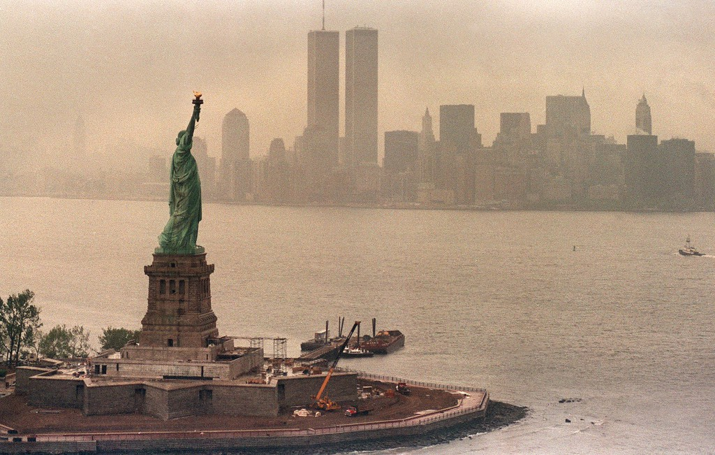 . File - A picture taken 20 May 1986 in New York shows the Statue of Liberty and the Twin Towers of the World Trade Center in the background.       (MARIO SURIANI/AFP/Getty Images)