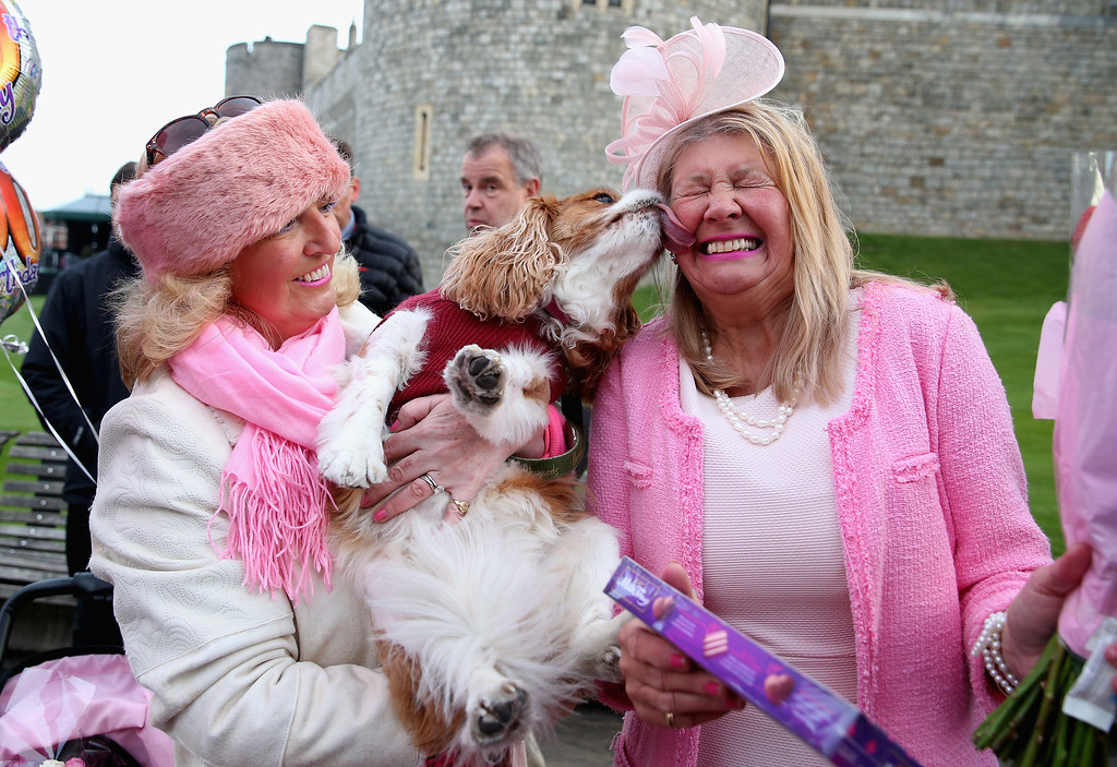 . Judy Daley and Anne Daley from Cardiff wait in position for the Queen\'s 90th Birthday Walkabout on April 21, 2016 in Windsor, England. Today is Queen Elizabeth II\'s 90th Birthday. The Queen and Duke of Edinburgh will be carrying out engagements in Windsor.  (Photo by Chris Jackson/Getty Images)