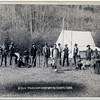 Title: [Engineers Corps camp and visitors]<br /> Row of fifteen people and two deer in front of a tent. Some of the men are holding measuring poles and or standing next to surveyors' transits on tripods. 1889.<br /> Repository: Library of Congress Prints and Photographs Division Washington, D.C. 20540