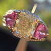 2.18ct Radiant Cut Diamond and Pink sapphire 3-Stone Ring by DBL GIA W-X, VS2 17