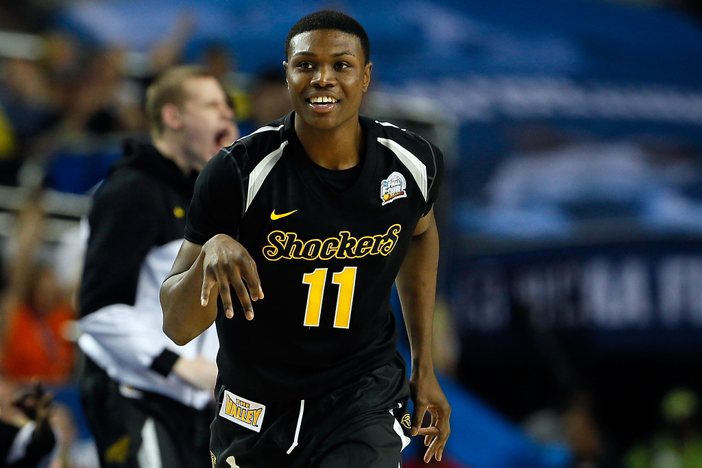. ATLANTA, GA - APRIL 06:  Cleanthony Early #11 of the Wichita State Shockers reacts after he made a 3-point basket in the second half against the Louisville Cardinals during the 2013 NCAA Men\'s Final Four Semifinal at the Georgia Dome on April 6, 2013 in Atlanta, Georgia.  (Photo by Kevin C. Cox/Getty Images)