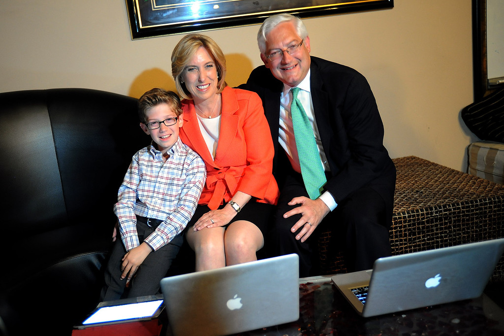. Mayoral candidate Wendy Greuel waits for election results with husband Dean Schramm and son Thomas during her election night party at the Exchange in Los Angeles, CA May 21, 2013(Andy Holzman/Staff Photographer)