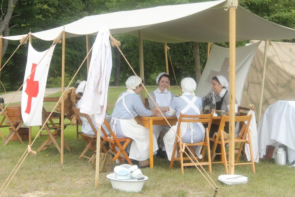 . Reenactors represent German nurses during the 2018 D-Day Conneaut. Kristi Garabrandt - The News-Herald