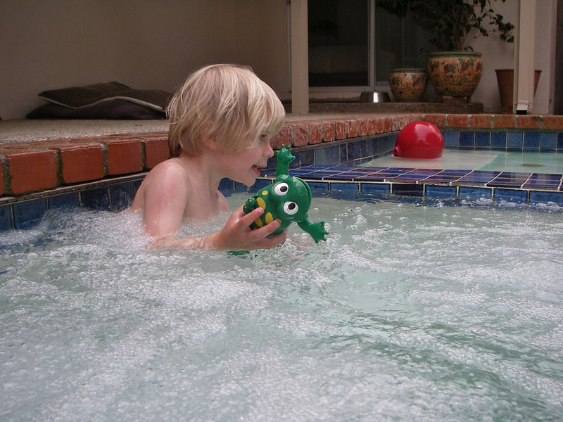 A real fun toy the green frog has seen a lot of action.