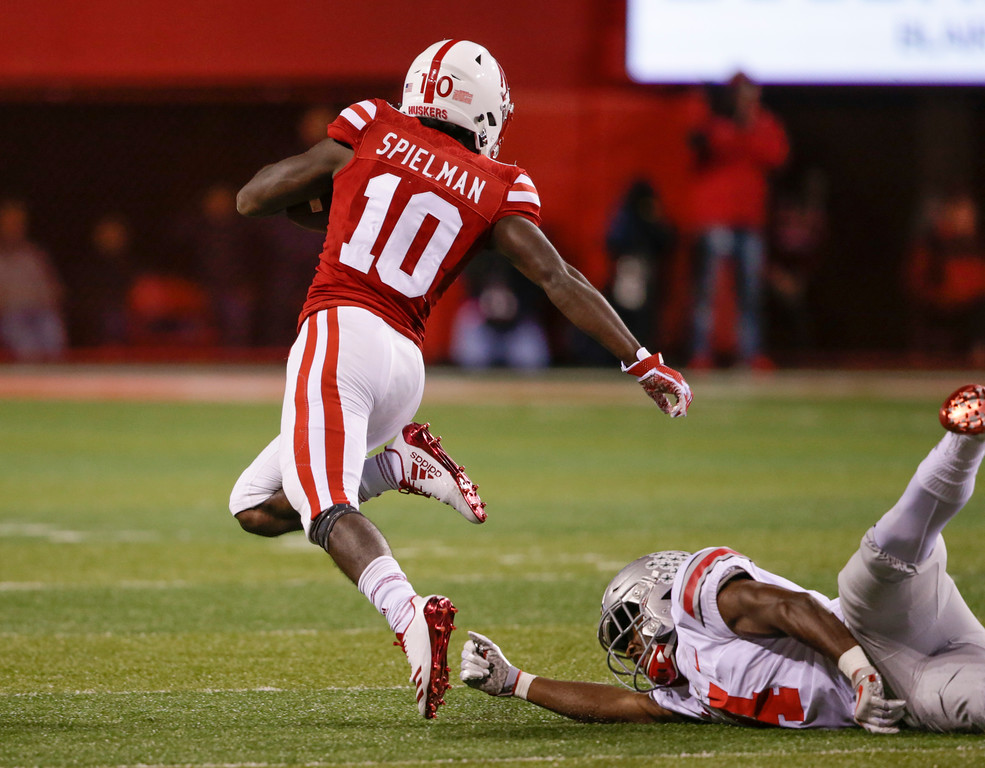 . Ohio State\'s Jordan Fuller (4) trips Nebraska wide receiver JD Spielman (10) before he could reach the end zone, during the first half of an NCAA college football game in Lincoln, Neb., Saturday, Oct. 14, 2017. (AP Photo/Nati Harnik)