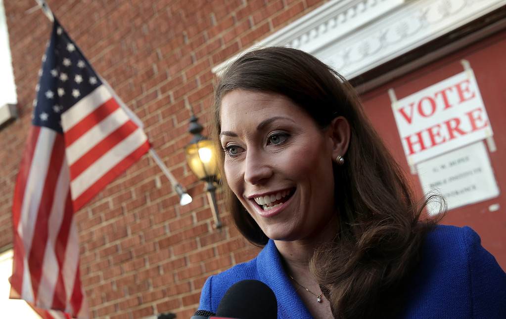 . Democratic Senate candidate and Kentucky Secretary of State Alison Lundergan Grimes (D-KY) answers questions after casting her vote at Pleasant Green Baptist Church November 4, 2014 in Lexington, Kentucky. Grimes, is running against Senate Minority Leader Mitch McConnell (R-KY).  (Photo by Win McNamee/Getty Images)