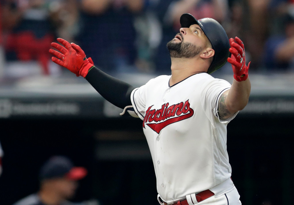 . Cleveland Indians\' Yonder Alonso looks up after hitting a solo home run off Minnesota Twins starting pitcher Kyle Gibson in the fourth inning of a baseball game, Monday, Aug. 6, 2018, in Cleveland. (AP Photo/Tony Dejak)