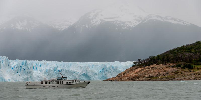 Tourboat near Perito Moreno Glacier, Lake Argentino, Los Glaciares National Park, Santa Cruz Province, Patagonia, Argentina