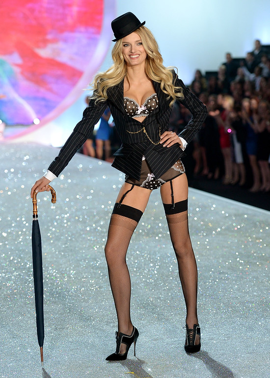 . Model Lily Donaldson walks the runway at the 2013 Victoria\'s Secret Fashion Show at Lexington Avenue Armory on November 13, 2013 in New York City.  (Photo by Dimitrios Kambouris/Getty Images for Victoria\'s Secret)