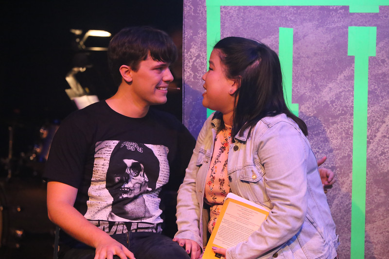 """Jeremy (Jayde Mitchell) and Christine (Grace Langford) singing """"A Guy That I'd Kinda Be Into"""" in BE MORE CHILL, New Line Theatre, 2019. Photo credit: Jill Ritter Lindberg."""