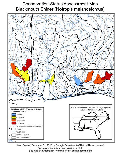 Conservation Status Assessment Map for Blackmouth Shiner (Notropis melanostomus)