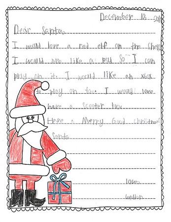 Mrs. Hamilton's 2nd Grade Letters to Santa, 12/13/2019