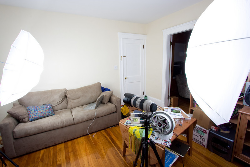 Different angle of the setup described in the previous photo, approximately behind the lens.  Fill light at the right, key at the left.  You can see how the key light is basically from the side.  Notice how much the 10mm focal length distorts!
