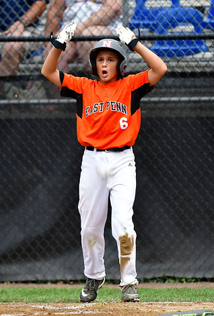 8/6/2019 Mike Orazzi | Staff Pennsylvania's Aaron Angelo (6) after scoring during their second game of the Little League Mid-Atlantic regional on Aug. 6, 2019 at Breen Field in Bristol, Ct.