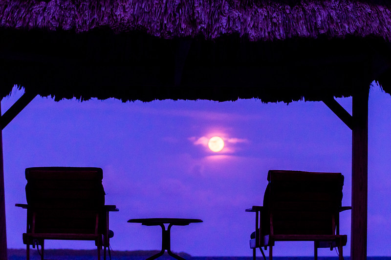 Silhouette of chairs and table with moon glowing in the sky, Turneffe Island, Belize