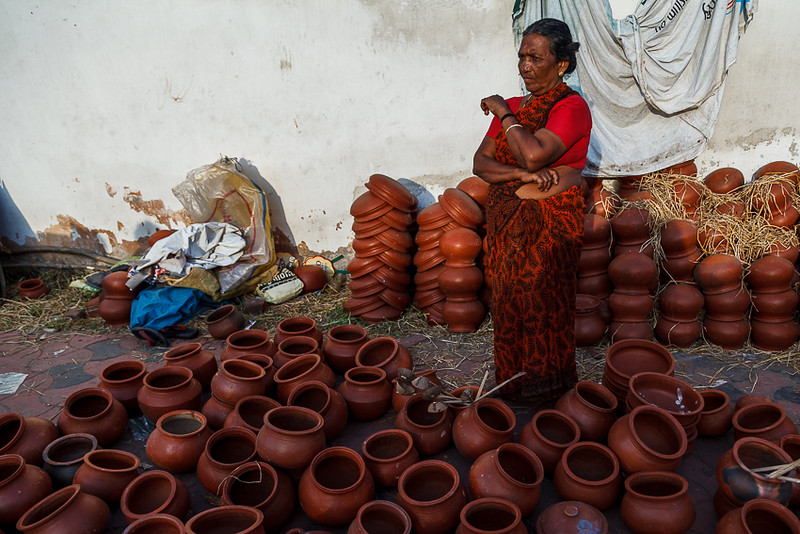The pot sellers for preparing the Pongala