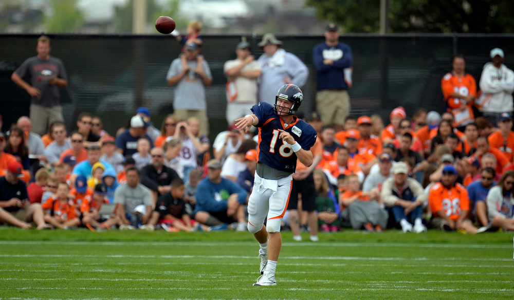. Denver Broncos quarterback Peyton Manning (18) throws a pass down field during training camp July 29, 2013 at Dove Valley. (Photo By John Leyba/The Denver Post)
