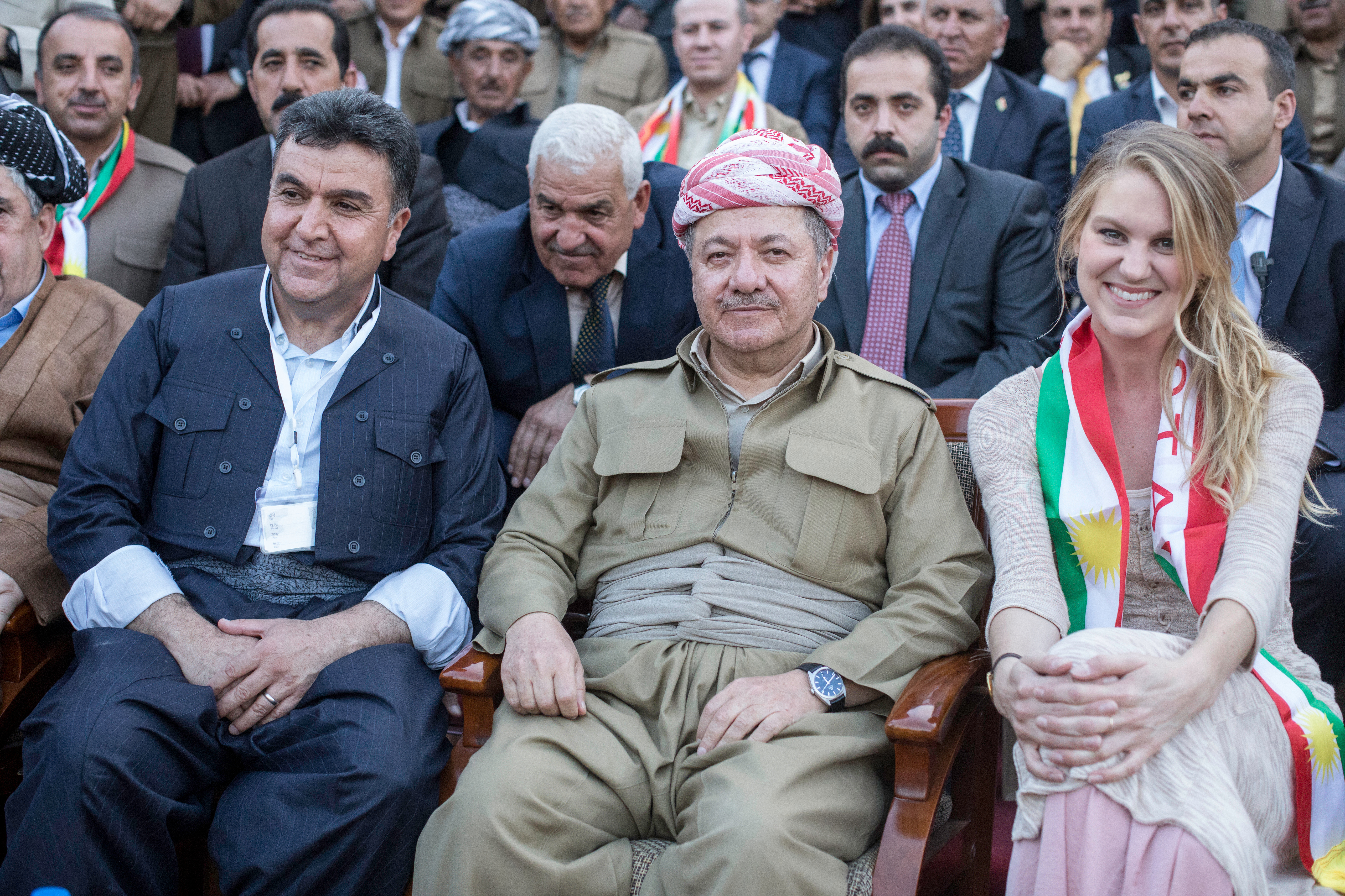 Parks with then President of Kurdistan Masoud Bargain (center) and Mayor Kak Krmanj of Soran at Soran University's soccer stadium eight days before Iraqi Kurdistan's vote to negotiate independence from Iraq.