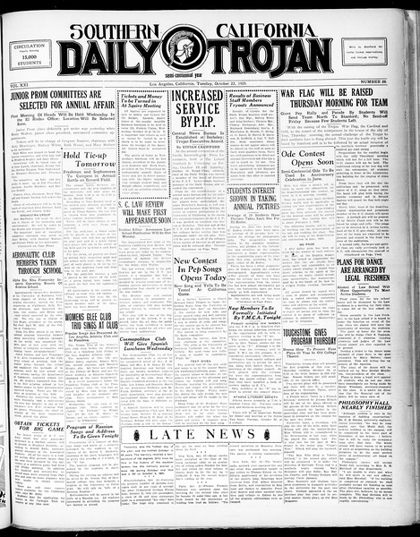 Southern California Daily Trojan, Vol. 21, No. 26, October 22, 1929