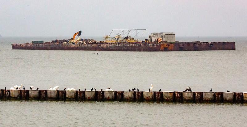 Strange artificial island next to the Bolivar Ferry Slip